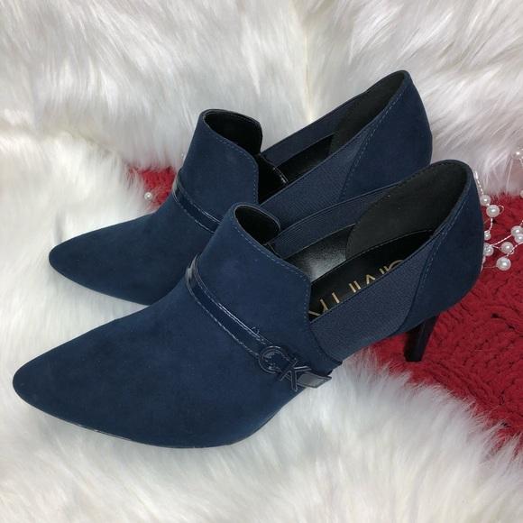 Blue Calvin Klein Jaclyn Bootie | Poshmark